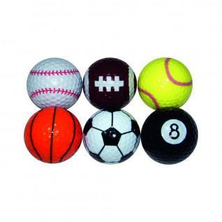 Lot de 6 balles Longridge sport fantaisie