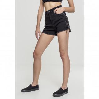 Short femme Urban Classic waist denim lace up
